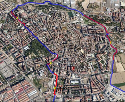 Detalle del paseo con marca en rojo de las zonas delicadas