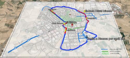 El paseo superpuesto al mapa del carril bici y la imagen de Huesca