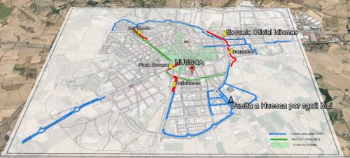 Mapa del carril bici superpuesto a la imagen de la ciudad, sin el paseo